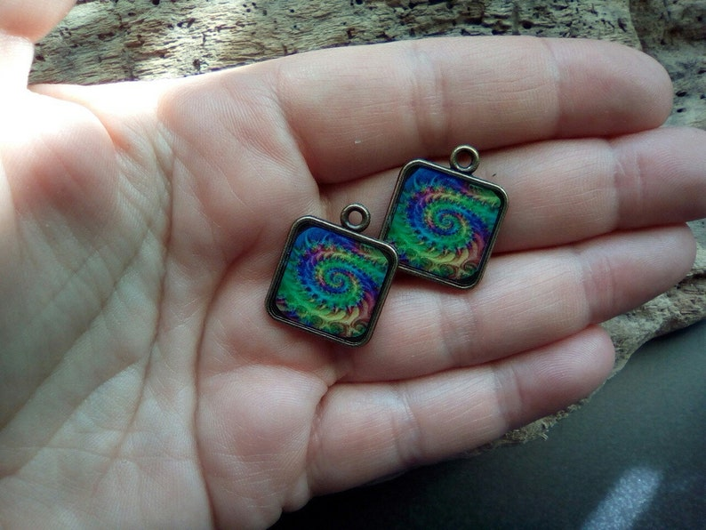 pair of charms for DIY project /_ swirl