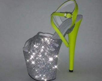 Pole Dancing Heels Exotic Dancer Shoes Stripper Shoes High Heels Handmade Shoes Glitter Shoes Hand Made Shoes Custom Fit Shoes Evening Shoes