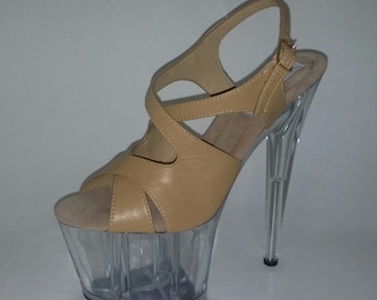 c4d244a14f5 Pole dancing shoes custom made exotic sexy platform genuine leather high  heel 6
