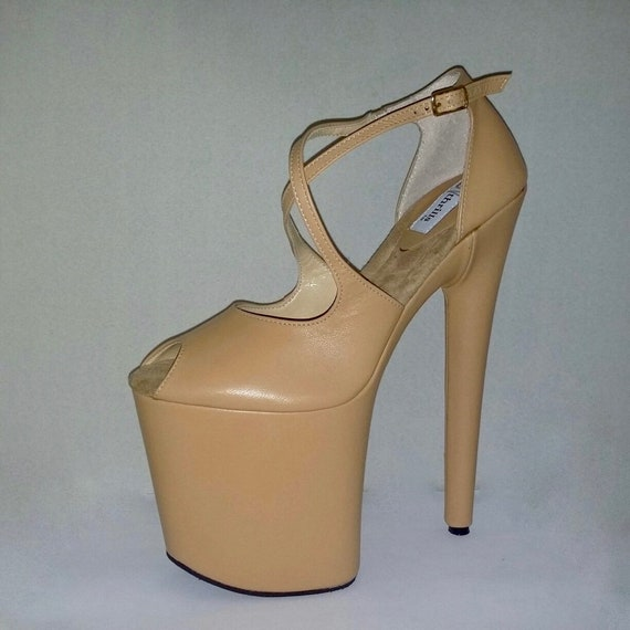 77b47d5498e4e Pole dancing shoes custom made exotic heels nude genuine leather covered  platform high heels 7 inch, strip dance, burlesque, showgirls, sexy