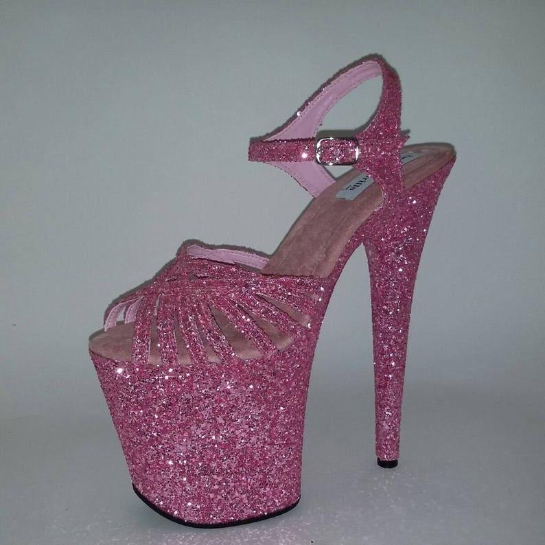 0bffed6b37d43 Pole Dancing Shoes Exotic Dancer Heels Pink Glitter Heels High Platform  Shoes High Heels Strip Dance Shoes Showgirls Wear Club Wear Prom