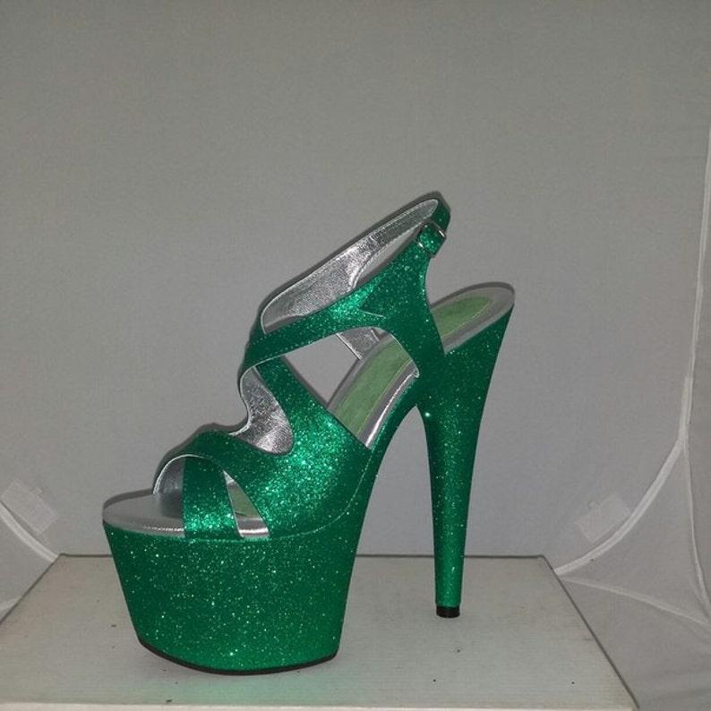 8203d77c43b7a Pole Dancer Shoes Custom Made Stripper Heels Green Glitter High Heels 7  inch Exotic Dance Burlesque Showgirls Club Heels Prom Wedding