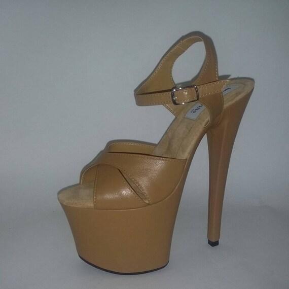 dbccd2a6c0d Pole dancing shoes Stripper shoes Exotic dancer heels Tan
