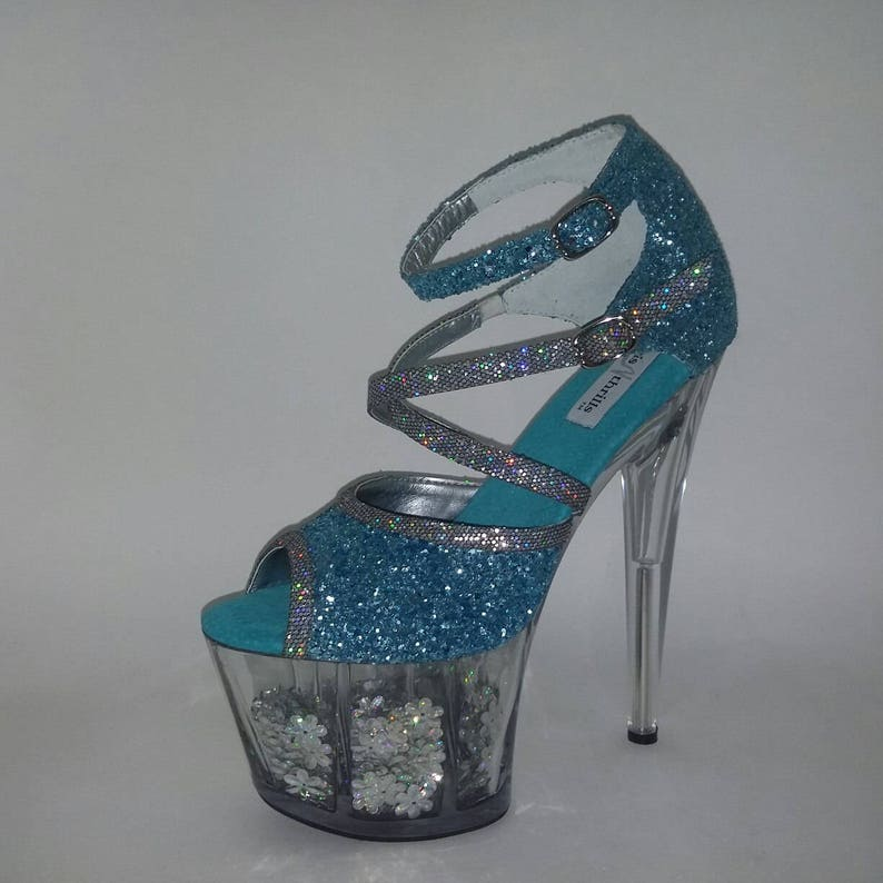 4bb80126e90bf Pole Dancing Shoes Exotic Dancer Heels Turquoise Glitter Shoes High Heels  Strip Dance Shoes Showgirls Shoes Club Wear Prom Shoes Custom Fit