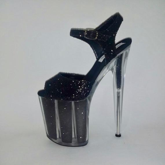 ba2f73eef288 Exotic Dancer Shoes Pole Dancing Shoes Black Glitter Shoes