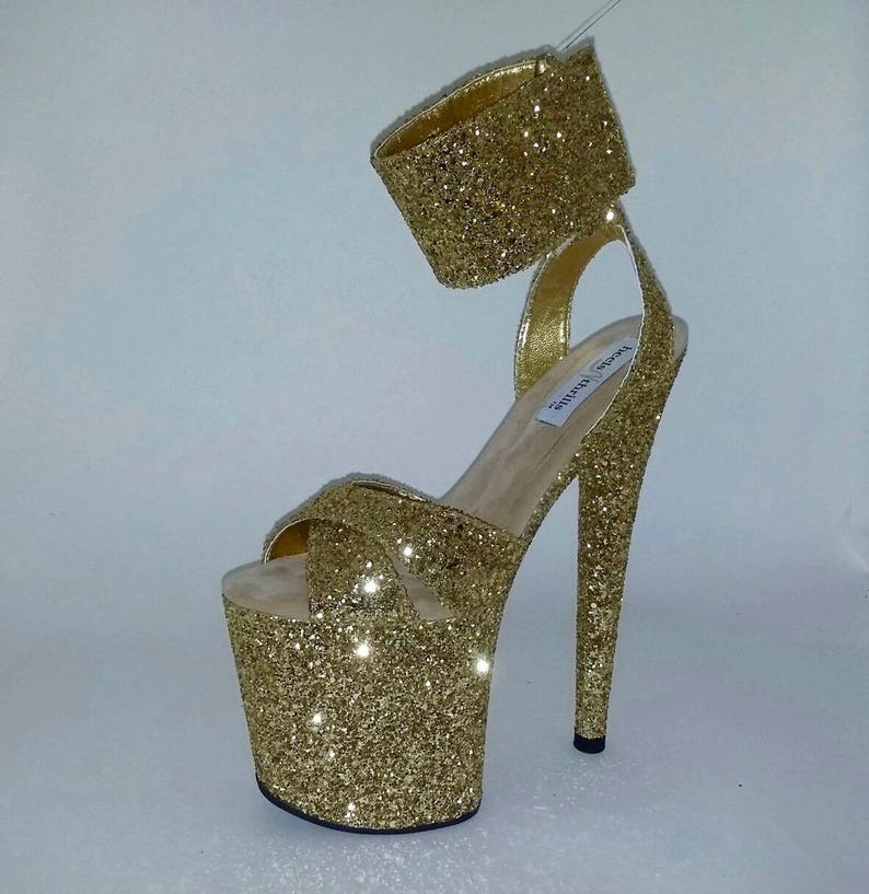 7a4a0275c513 Pole Dancing Shoes Custom Made Shoes Exotic Dancer Shoes Gold