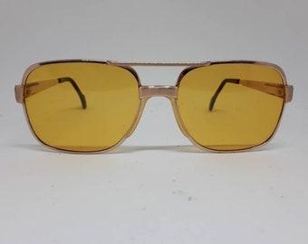 6bc8b86df5d Vintage METZLER 0768 sunglasses gold frame acetat oldschool 80s Made in  Germany Sonnenbrille 1980s yellow lenses near mint