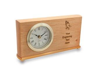 Desk Clock Praying Hands Design   Personalized Red Alder Desk Clock    Wooden Mantle Piece Clock   Laser Engraved Desk Clock   Desk Accessory