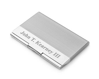 8fefac3e067f Engraved Engine Turned Business Card Holder - Personalized Silver Business  Case With Etched Line Design. ExecutiveGiftShoppe