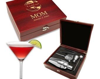 Worldu0027s Best Mom Personalized Barware Set   Customised Martini Set For Mom    5 Piece Steel