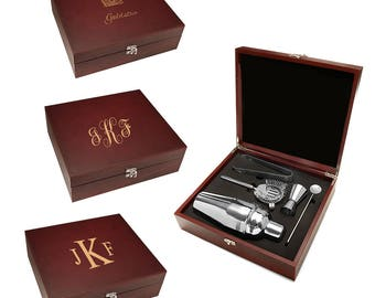 Personalized Barware Set - Customised Cocktail Making Set - Monogrammed Gift - Boxed Cocktail Shaker - 5 Pieces Silver Barware Set -
