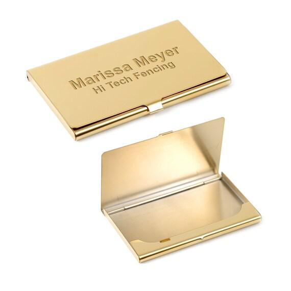 Gravierte Gold Visitenkarten Etui Personalisierte Messing Tasche Visitenkarten Etui