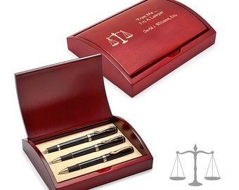 Personalized Pens & Pencil Gift Set for Law Professional - Pen and Pencil Set in Laser Engraved Wooden Box with Scales Motif - Pen Gift Set