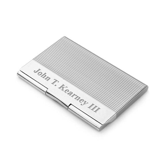 Gravierte Motor Drehte Visitenkarten Etui Personalisierte Silber Geschäft Mit Geätzten Line Design