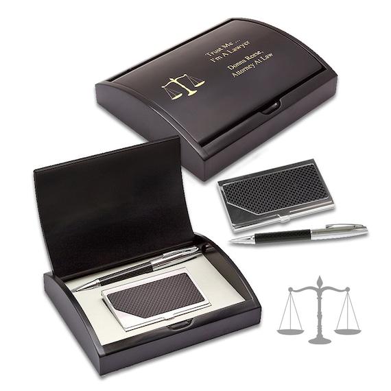 Rechtsanwalt Kugelschreiber Und Visitenkartenetui Set Mit Individuelle Gravur Personalisierte Desktop Stift Set Für Juristen