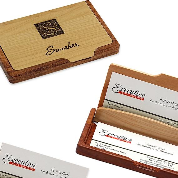 Nachname Monogramm Bambus Visitenkarten Etui Kartenhalter Mit Individuelle Gravur