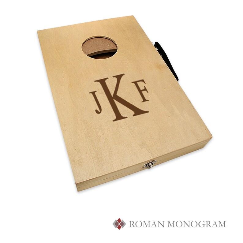 Roman Monogram Mini Cornhole Game Personalized Bean Bag Toss Game Set