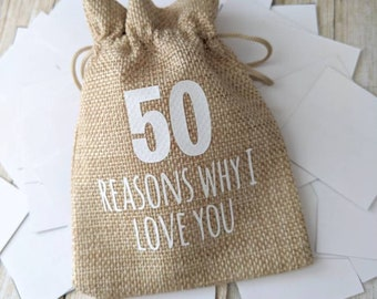 50 reasons why I love you. Christmas gifts. Gifts for her. Gifts for him. Meaningful gifts. Personalised gifts. Gifts for wives. Groom gifts