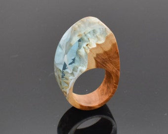 Resin Wood Ring Wood and Resin Ring. One of a kind, Unique gift, Gift for her. Statement Ring. Size 5 1/2 Ring. UK size L ring. Accessory