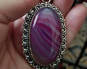 Purple Striped Botswana Agate Pendant!