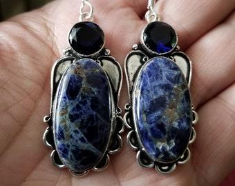 Sodalite and Blue Quartz Earrings!