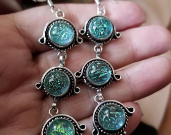 Green Dichroic Glass Earrings!
