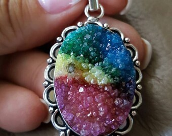 Rainbow Druzy Pendant!