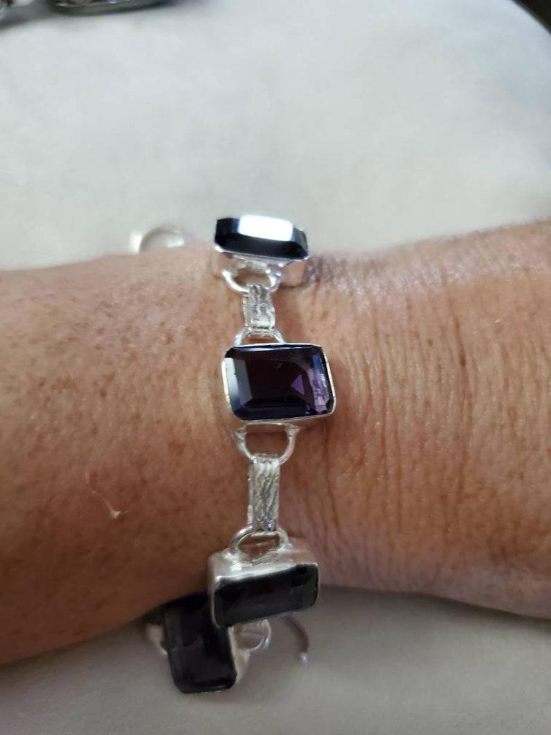 fits up to 7.25 inches! Petite Square Grape Purple Quartz Bracelet