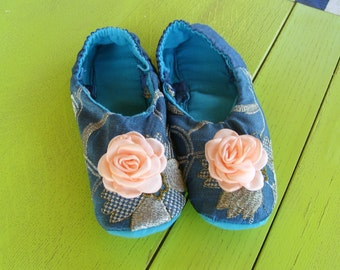 Handmade OOAK Midnight Garden Slippers Turquoise Silk embellished with Silver and Gold Thread, Pink Fabric Rose in Size 6--7 1/2