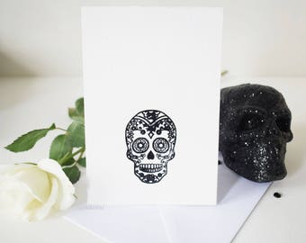 Halloween skull card etsy blank white halloween skull greetings card with spinning skull element a6 birthday card alternative card day of the dead m4hsunfo