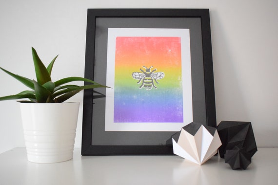 A4 Rainbow Pride Manchester bee Lino Print, UNFRAMED, mounted