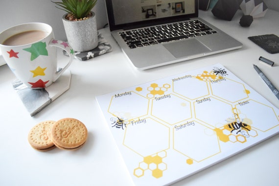 Bee and Honeycomb A4 Weekly Planner, Manchester Bee