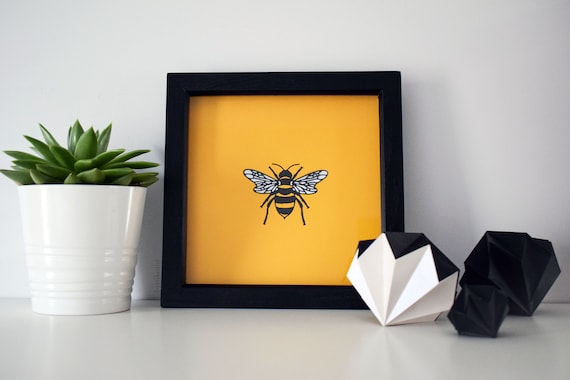 Framed Papercut Bee, manchester bee inspired