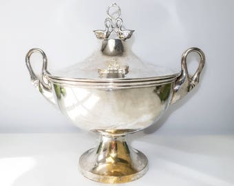 Vintage Silver Plate Covered Dish With Figural Swan Finials Handles Bombay Company