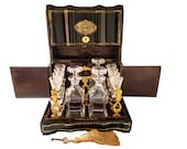 Antique French Tantalus Box With Baccarat Crystal Cordial Decanter Set Gilt Bronze