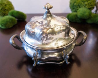 Antique Silver Plate Covered Butter Dish Cheese Dome Forbes Silver Co Quadruple Plate