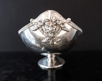 Antique Silver Plate Bowl Portrait Medallion Faces Pirate Face Greek Revival Large