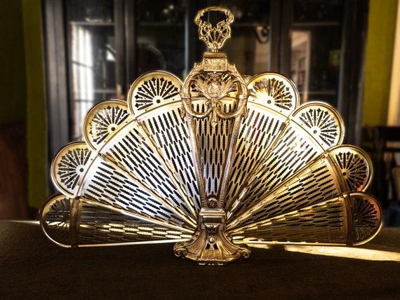 Vintage Brass Fireplace Screen Fan, Brass Fireplace Screen Vintage