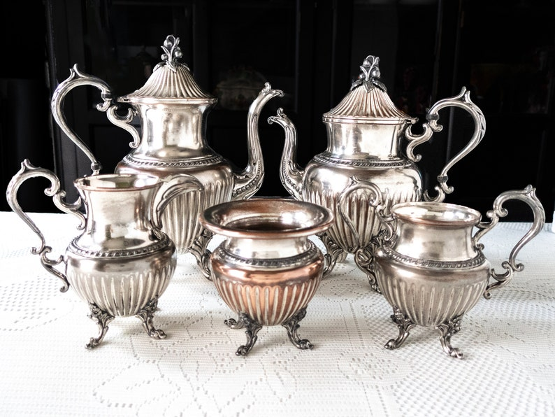 1a6102d3253c Vintage Silver Plate Tea Service Set Berry Finial Silver On