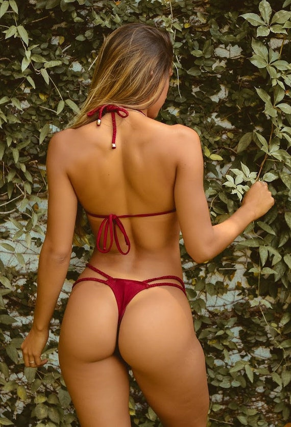 Ruby Red Braided Thong Bikini Bottom  Etsy-1203