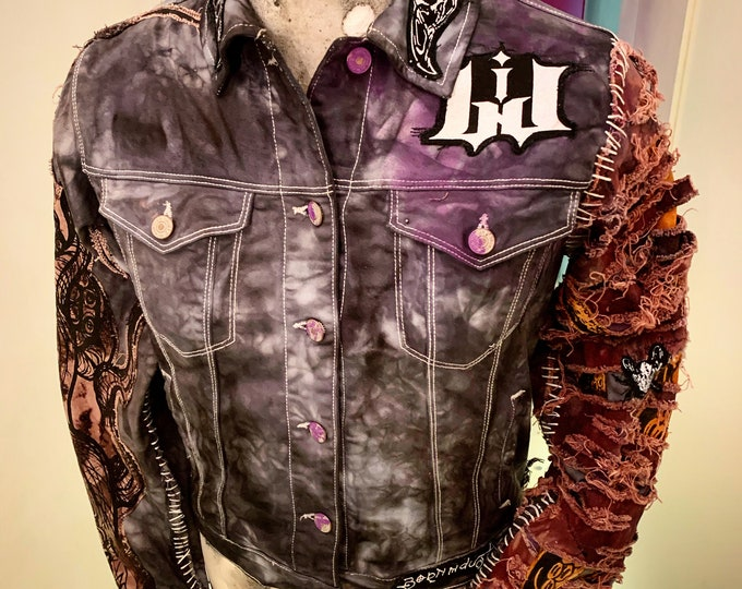 One of a kind. Kali punk, womans jacket, distressed screen printer denim sleves