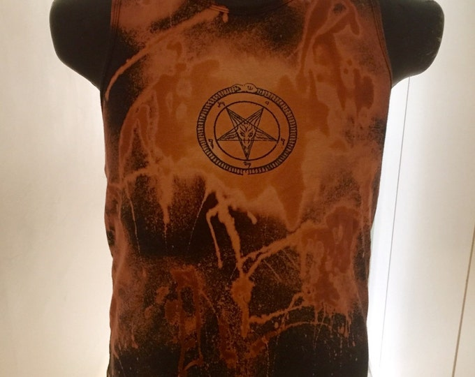 Satanic screen printed and bleached top