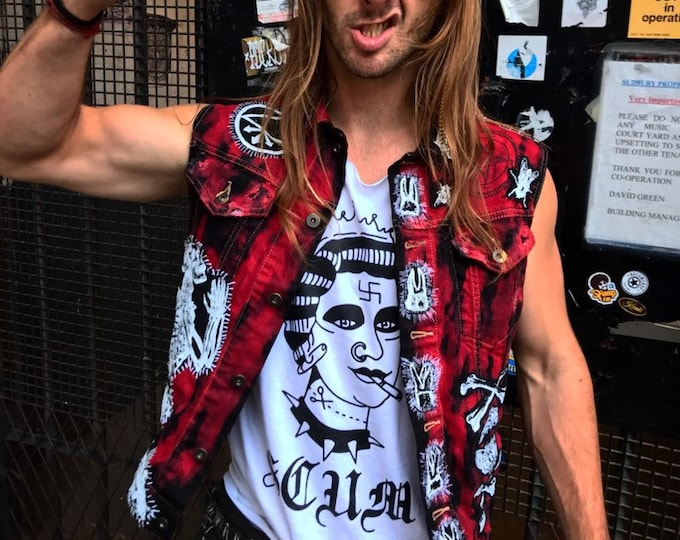 Custon made to order, one off. zombie punk style denim vest. read the details this is not the one for sale just an example .