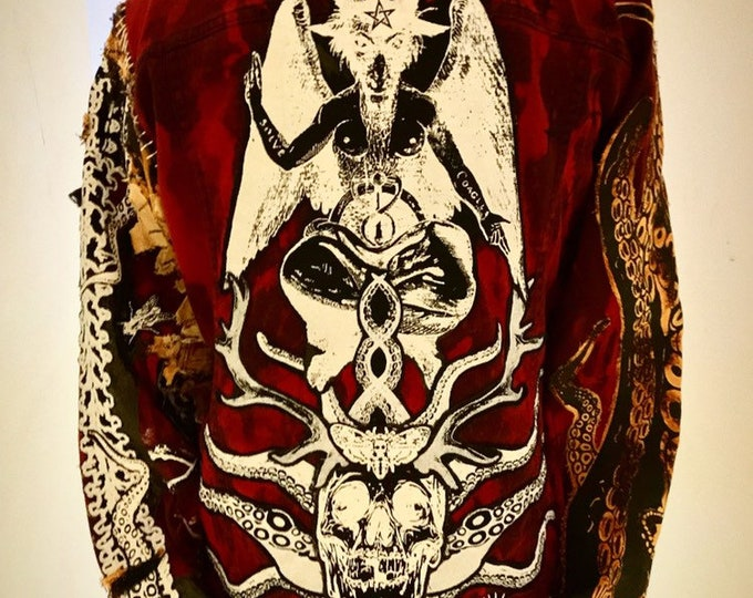 Cthulhu baphomet bleached and dyed denim jacket. Custom made to suit and fit the buyer