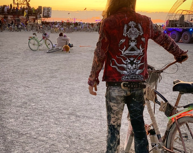 Cthulhu skeletons bleached and dyed denim jacket. Custom made to suit and fit the buyer