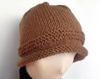 Brown Knit Hat/Rolled Brim Hat/ Knit Roll Brim Hat/Roll Brim Knit Hat/Rolled Brim Beanie/Brown Beanie/Knit Beanie/Gift for Him/Gift for Her