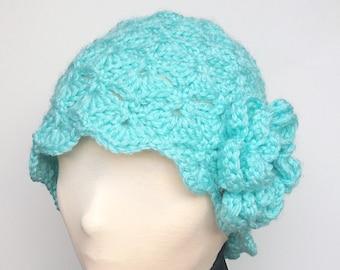 Aqua Crochet Hat with Detachable Flower/Aqua Hat/Aqua Crochet Beanie/Green Crochet Hat/Green Crochet Beanie