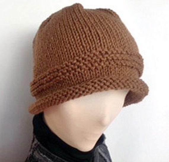 7704f8f3406 Brown Knit Hat Rolled Brim Hat  Knit Roll Brim Hat Roll Brim