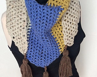 Color Block Crochet Cowl with Tassels/Crochet Cowl/Blue Crochet Cowl/Brown Cowl/Crochet Scarf/Brown Crochet Scarf/Tassle Cowl/Tassle Scarf