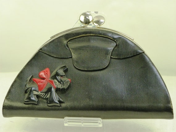Exceptional vintage SCOTTIE DOG HANDBAG, Purse, Bl